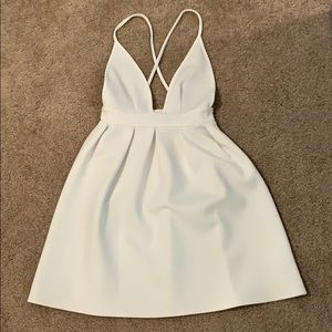 Cross back deep v dress